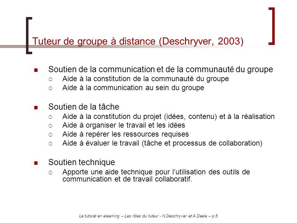Tuteur de groupe à distance (Deschryver, 2003)