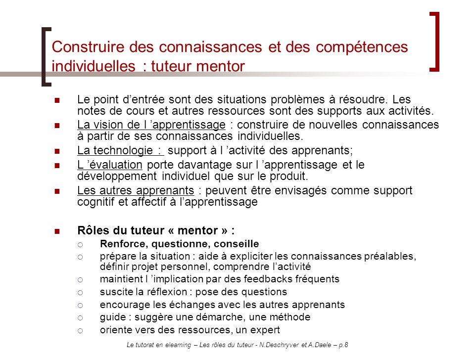 Construire des connaissances et des compétences individuelles : tuteur mentor