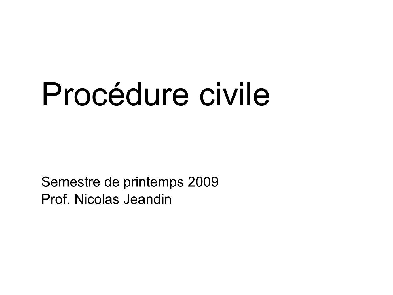 Procédure civile Semestre de printemps 2009 Prof. Nicolas Jeandin