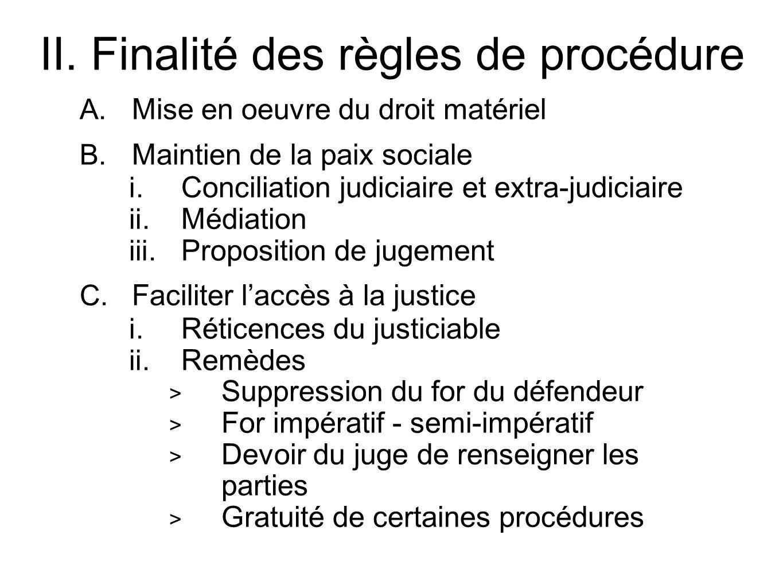 II. Finalité des règles de procédure