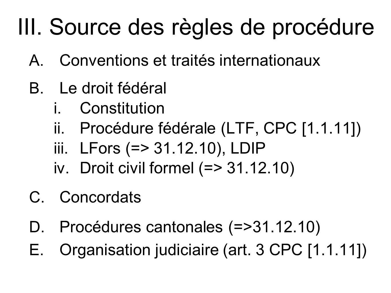 III. Source des règles de procédure