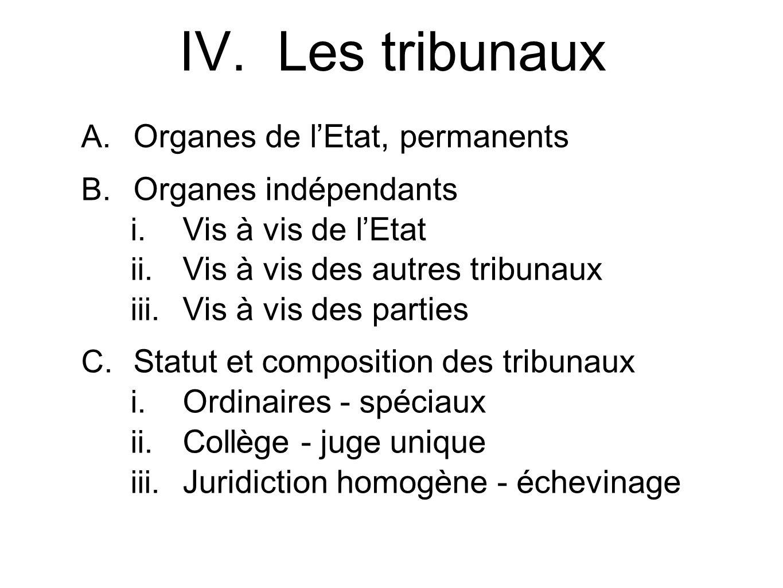 IV. Les tribunaux Organes de l'Etat, permanents Organes indépendants