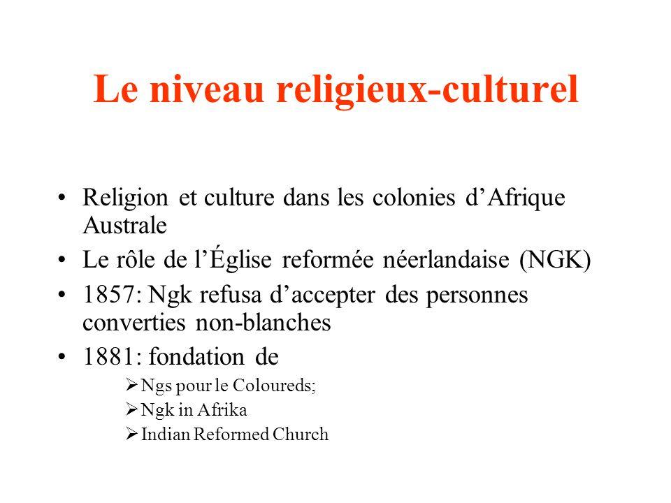 Le niveau religieux-culturel