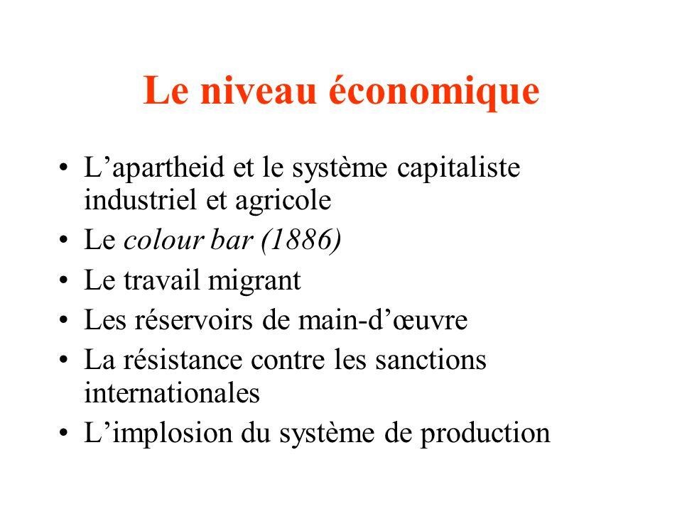 Le niveau économique L'apartheid et le système capitaliste industriel et agricole. Le colour bar (1886)