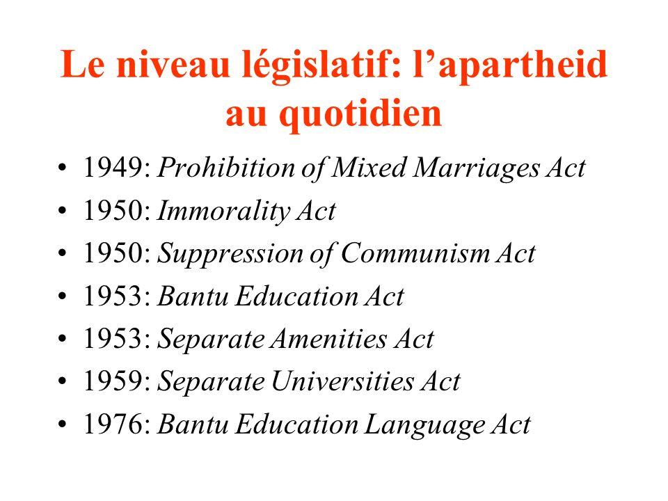 Le niveau législatif: l'apartheid au quotidien