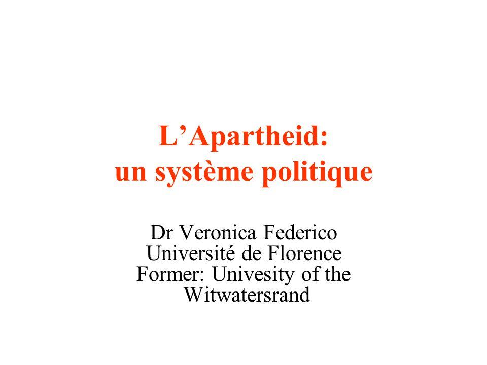 L'Apartheid: un système politique