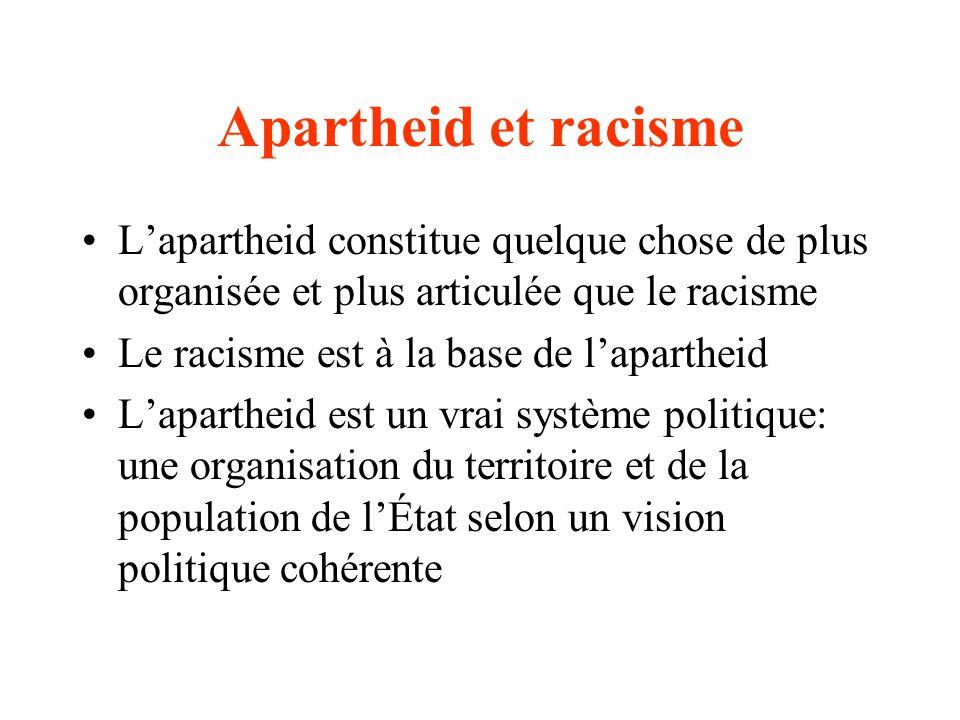 Apartheid et racisme L'apartheid constitue quelque chose de plus organisée et plus articulée que le racisme.