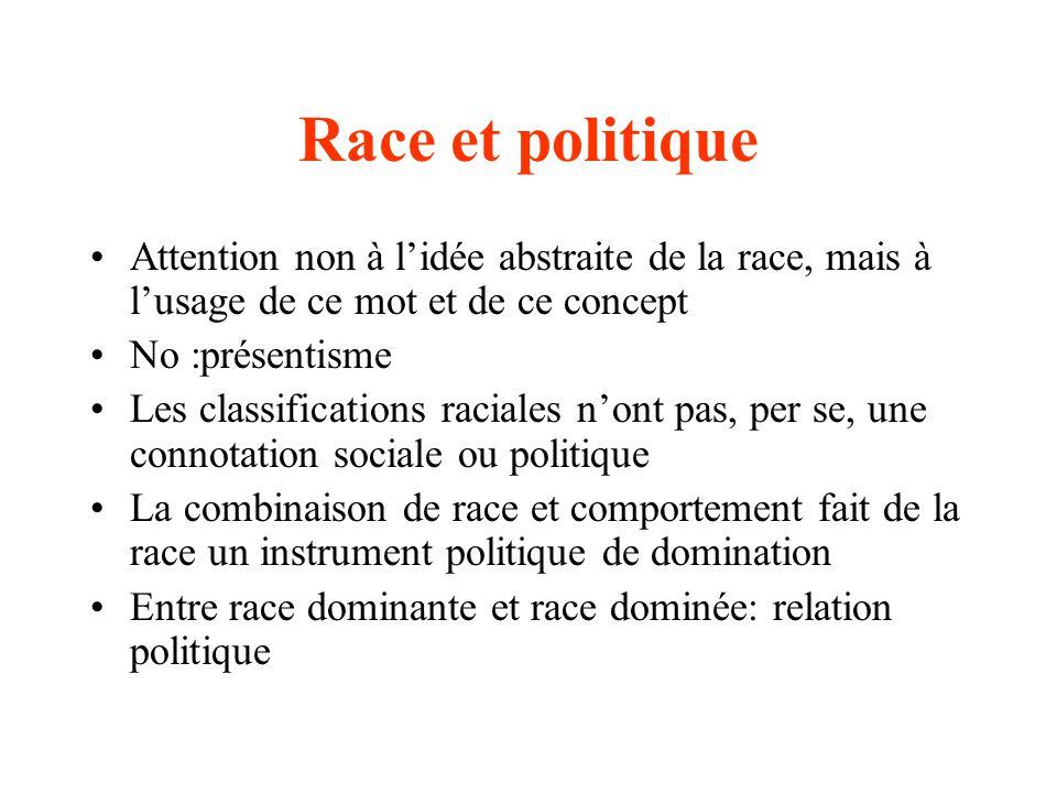 Race et politique Attention non à l'idée abstraite de la race, mais à l'usage de ce mot et de ce concept.