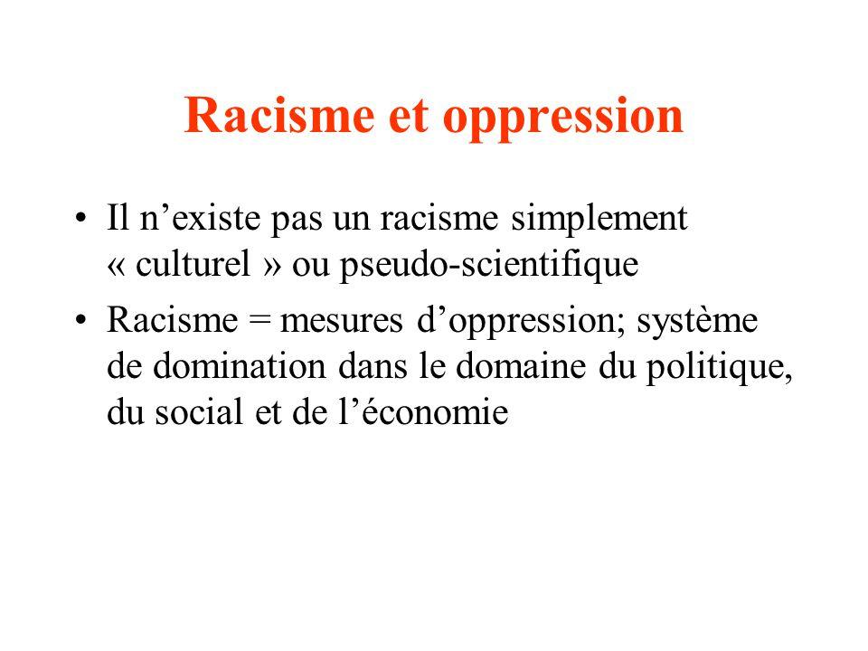Racisme et oppression Il n'existe pas un racisme simplement « culturel » ou pseudo-scientifique.