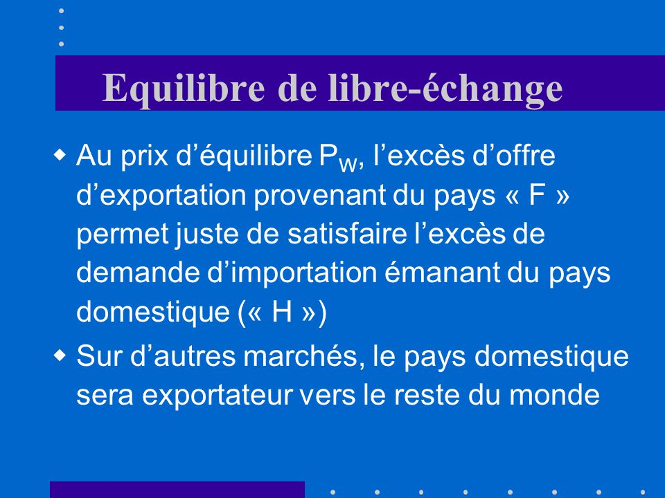 Equilibre de libre-échange