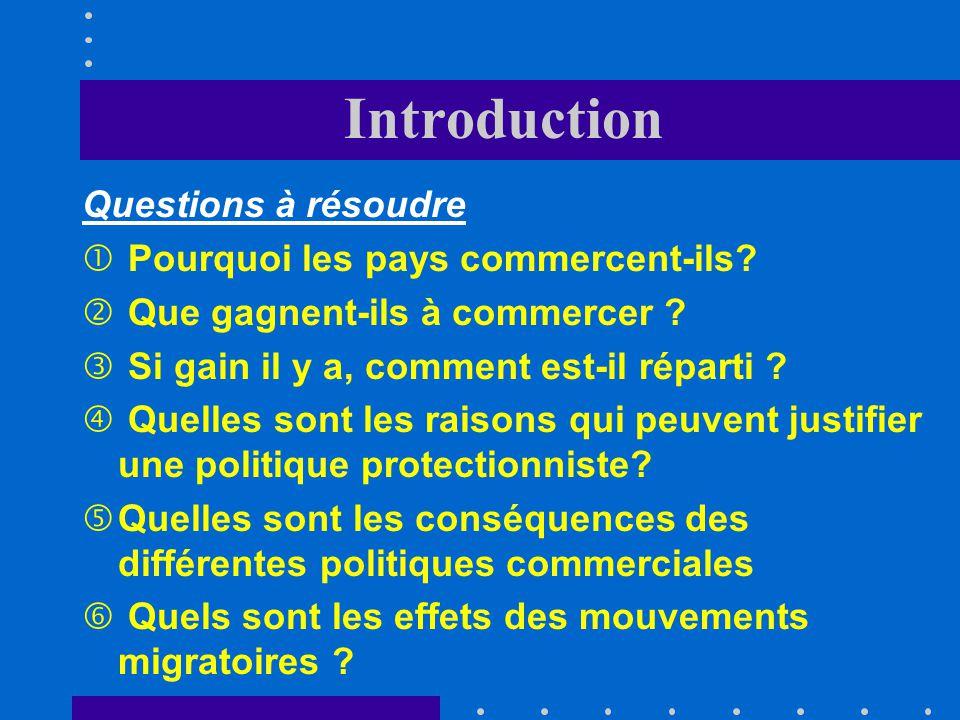 Introduction Questions à résoudre Pourquoi les pays commercent-ils