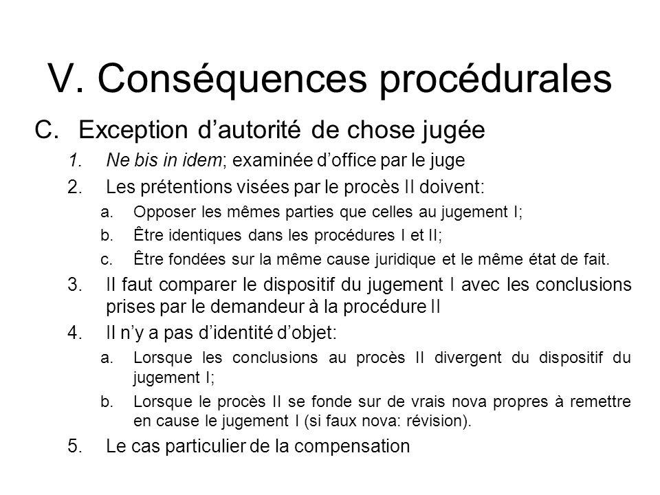 V. Conséquences procédurales