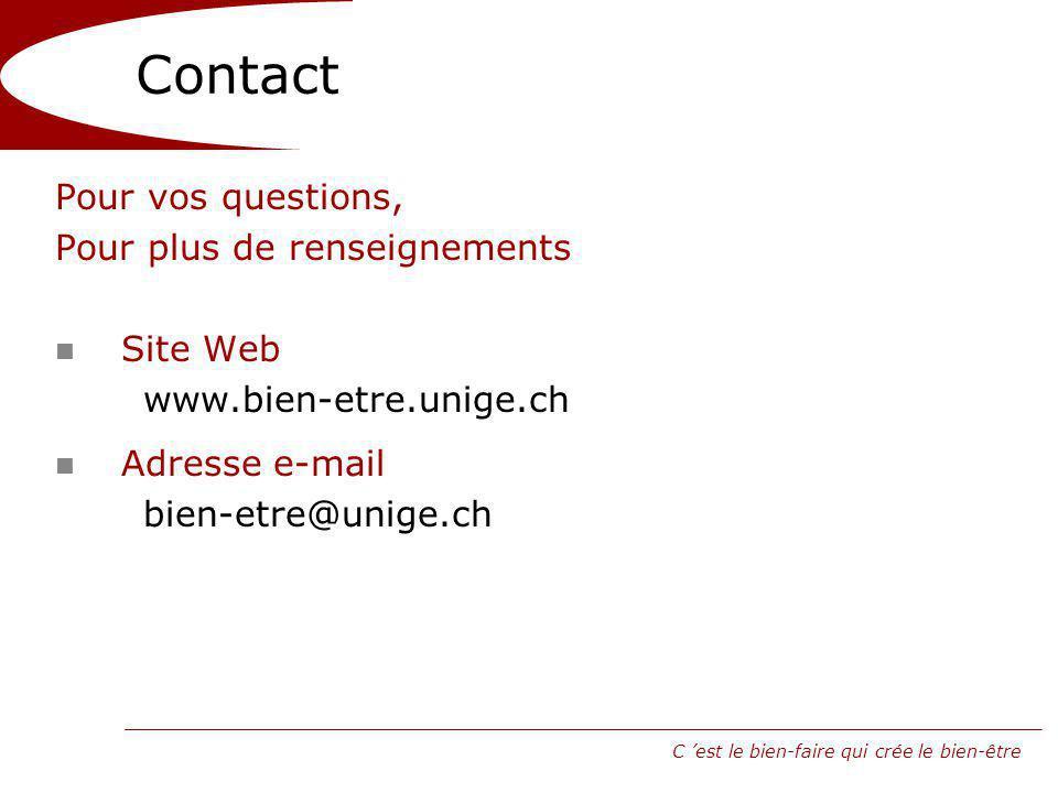 Contact Pour vos questions, Pour plus de renseignements Site Web