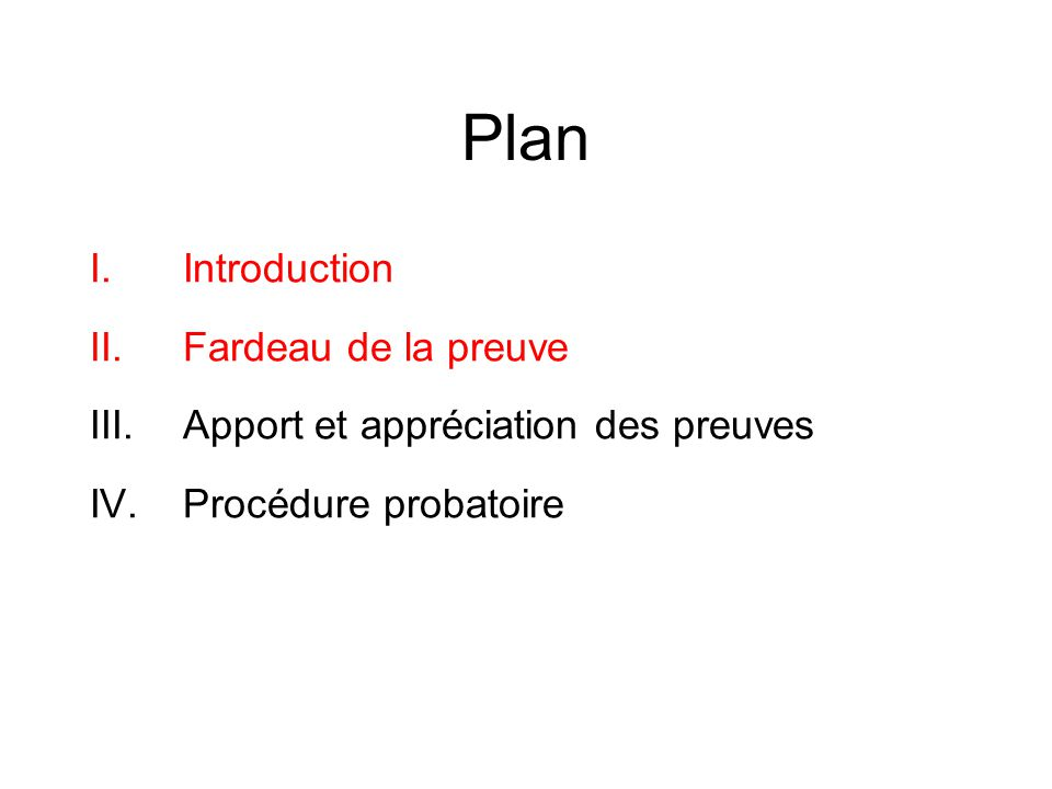 Plan Introduction Fardeau de la preuve