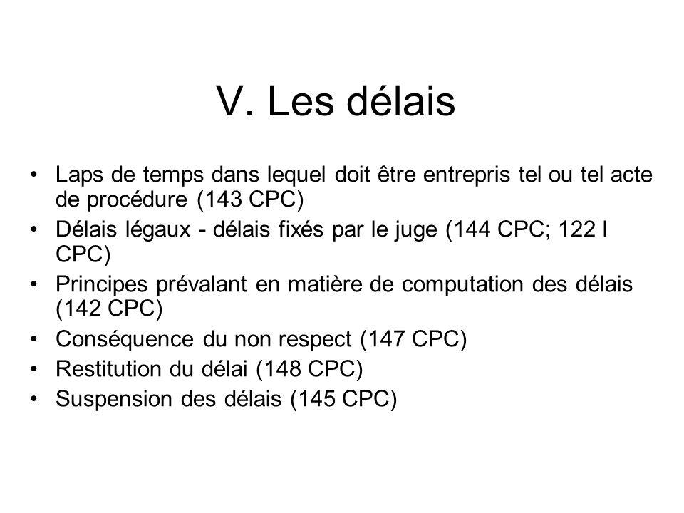 V. Les délais Laps de temps dans lequel doit être entrepris tel ou tel acte de procédure (143 CPC)