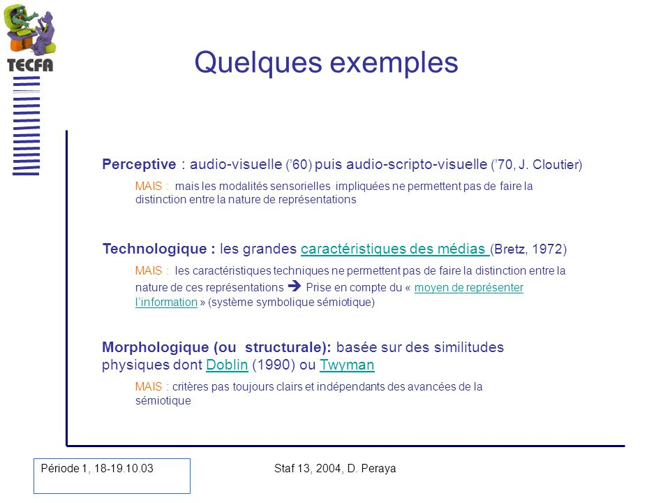 Quelques exemples Perceptive : audio-visuelle ('60) puis audio-scripto-visuelle ('70, J. Cloutier)