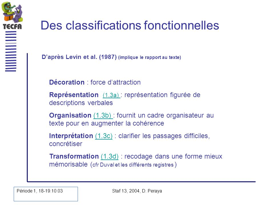 Des classifications fonctionnelles