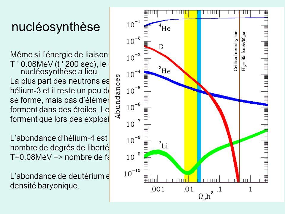 nucléosynthèse Même si l'énergie de liaison du deutérium est de 2.2MeV, seule à.