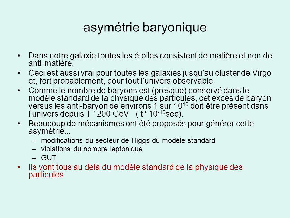 asymétrie baryonique Dans notre galaxie toutes les étoiles consistent de matière et non de anti-matière.
