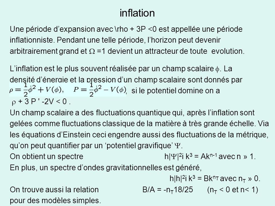 inflation Une période d'expansion avec \rho + 3P <0 est appellée une période. inflationniste. Pendant une telle période, l'horizon peut devenir.