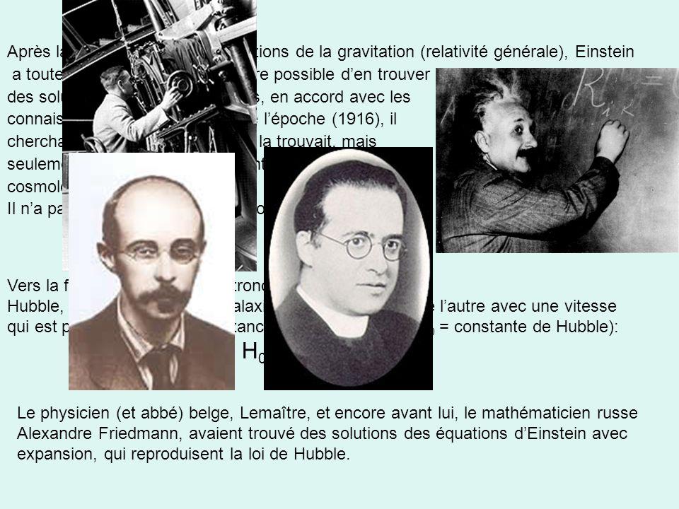 Après la découverte de ses équations de la gravitation (relativité générale), Einstein