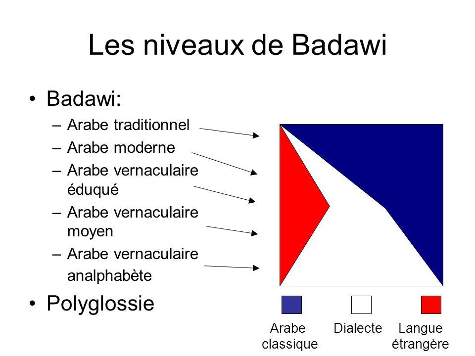 Les niveaux de Badawi Badawi: Polyglossie Arabe traditionnel