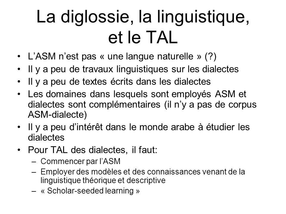 La diglossie, la linguistique, et le TAL