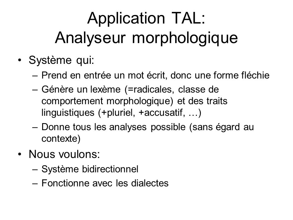 Application TAL: Analyseur morphologique