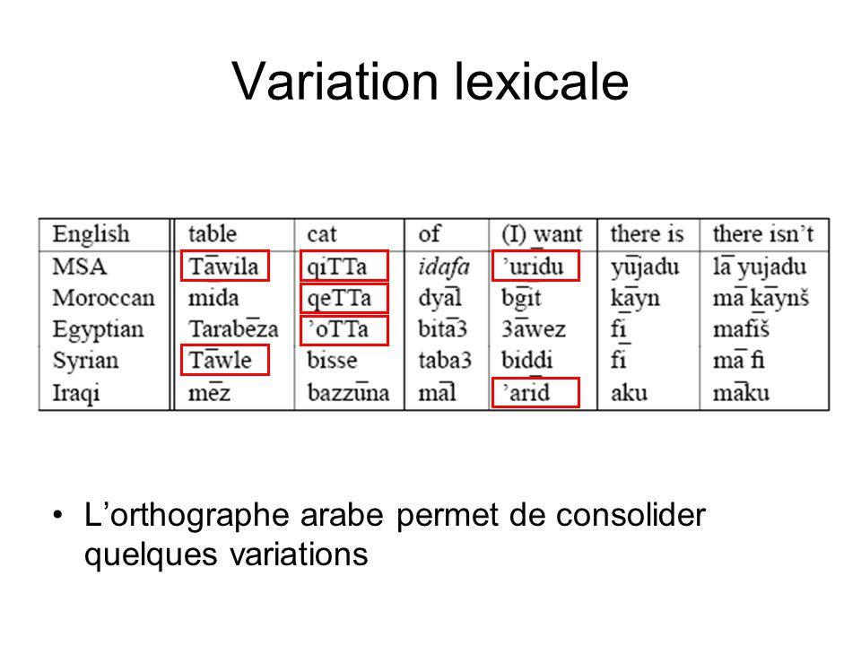 Variation lexicale L'orthographe arabe permet de consolider quelques variations