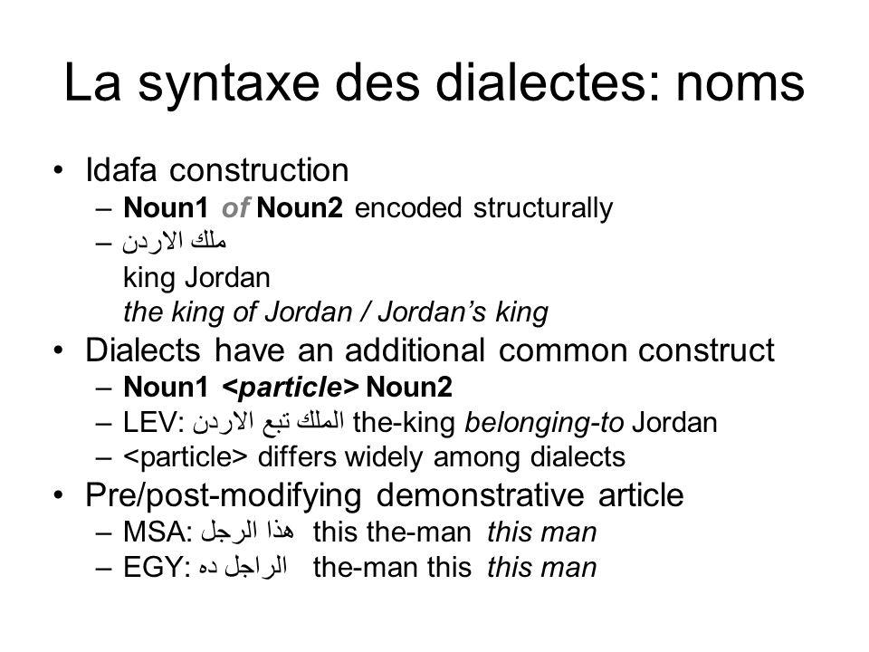 La syntaxe des dialectes: noms