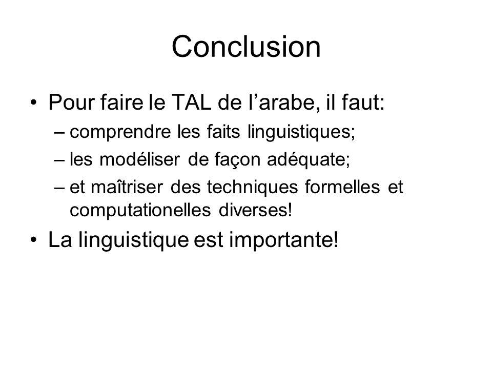 Conclusion Pour faire le TAL de l'arabe, il faut: