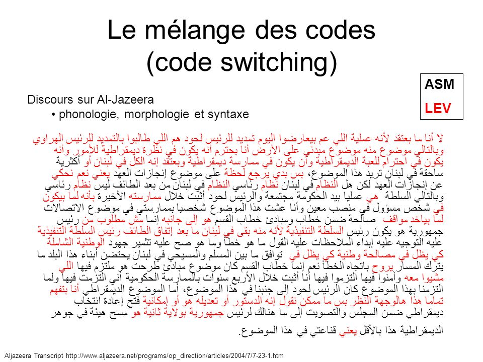 Le mélange des codes (code switching)