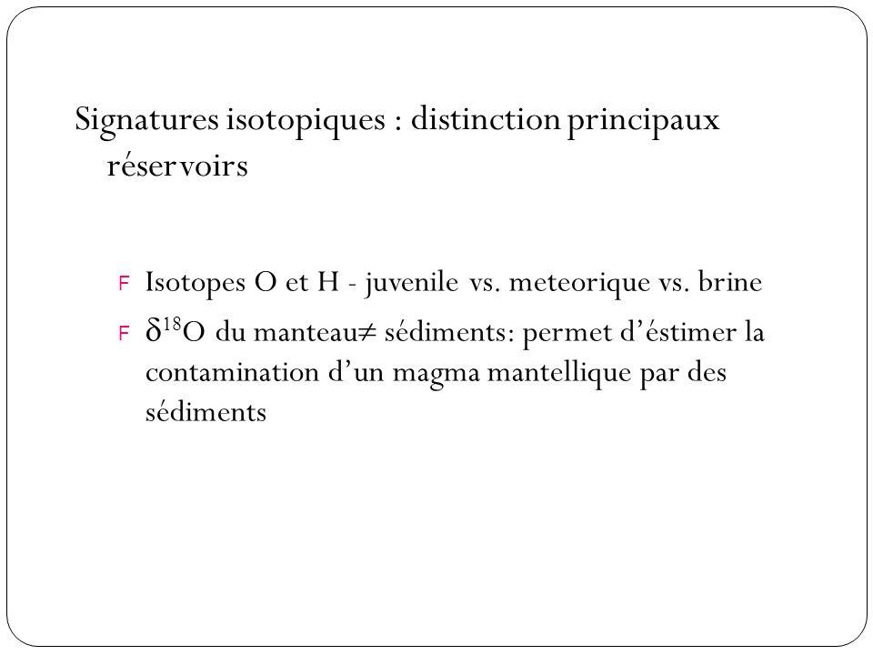 Signatures isotopiques : distinction principaux réservoirs