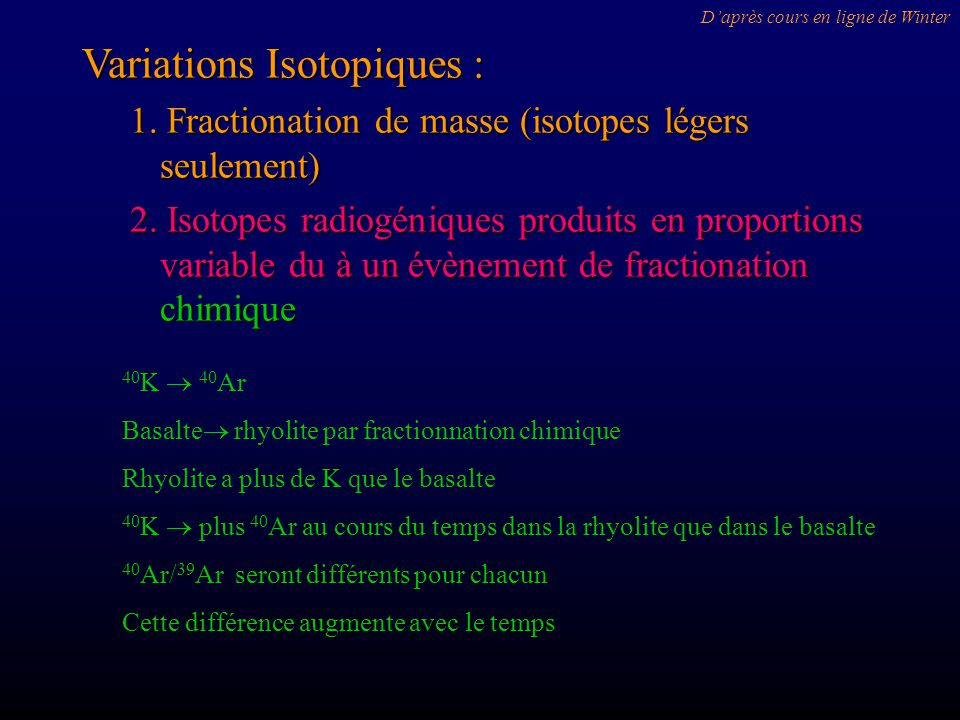 Variations Isotopiques :
