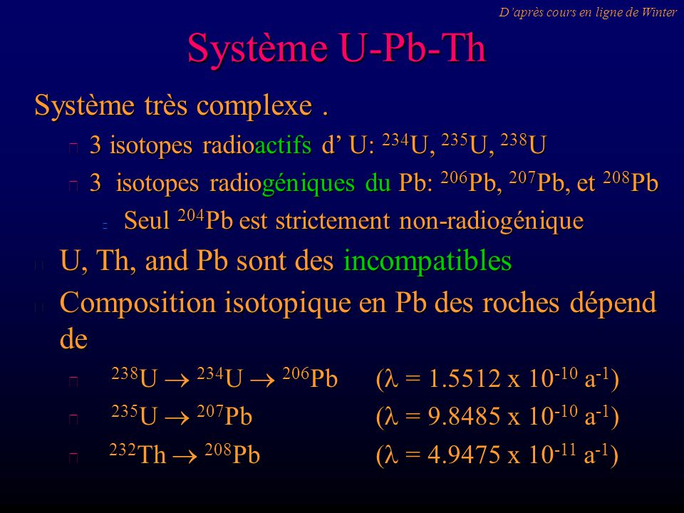 Système U-Pb-Th Système très complexe .