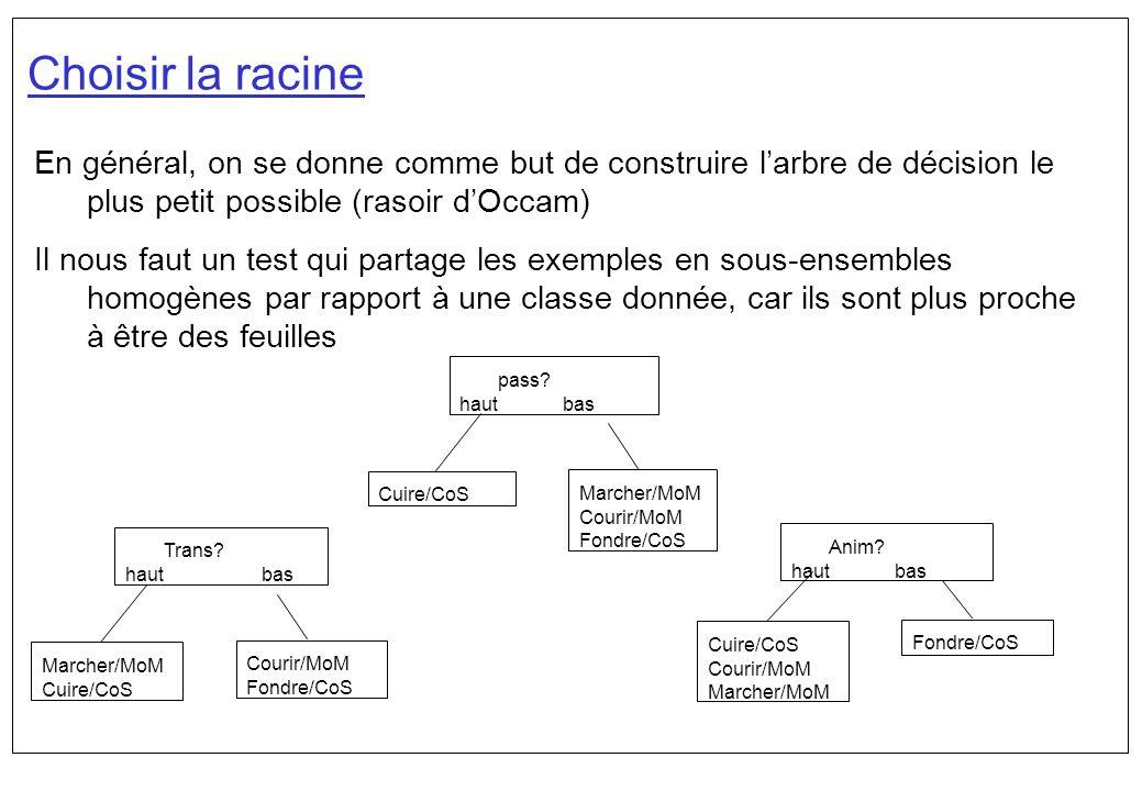 Choisir la racine En général, on se donne comme but de construire l'arbre de décision le plus petit possible (rasoir d'Occam)