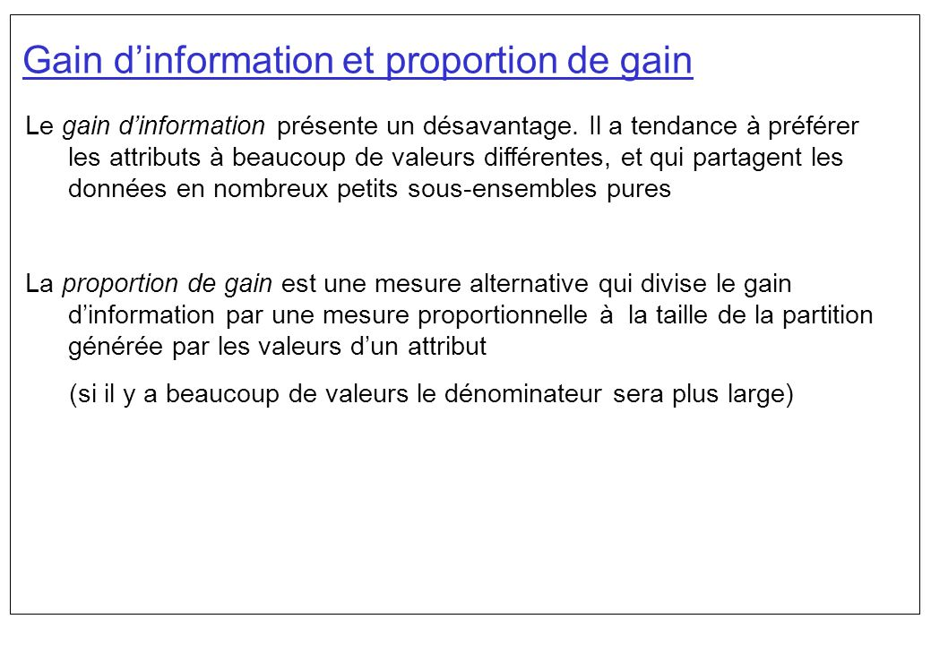 Gain d'information et proportion de gain