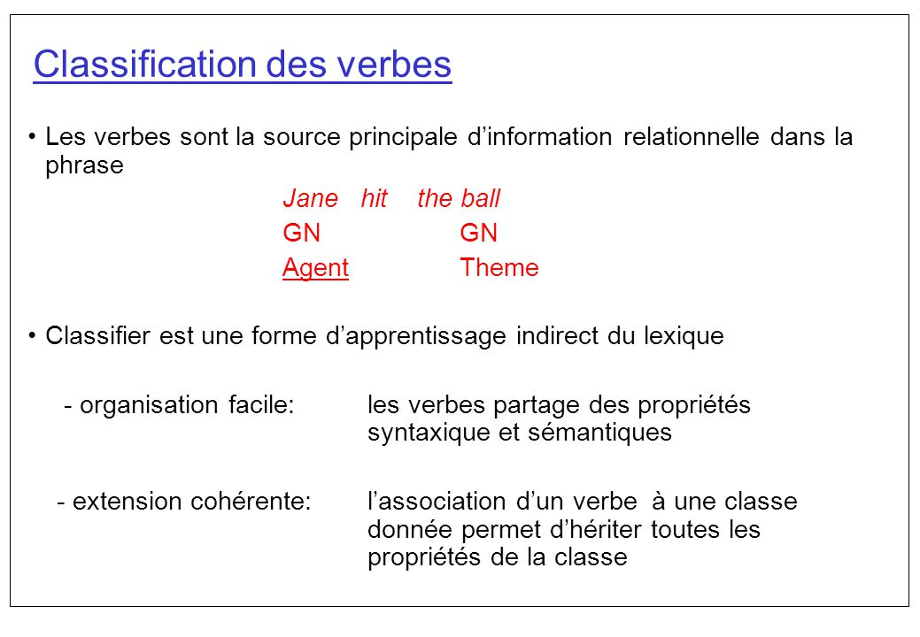 Classification des verbes