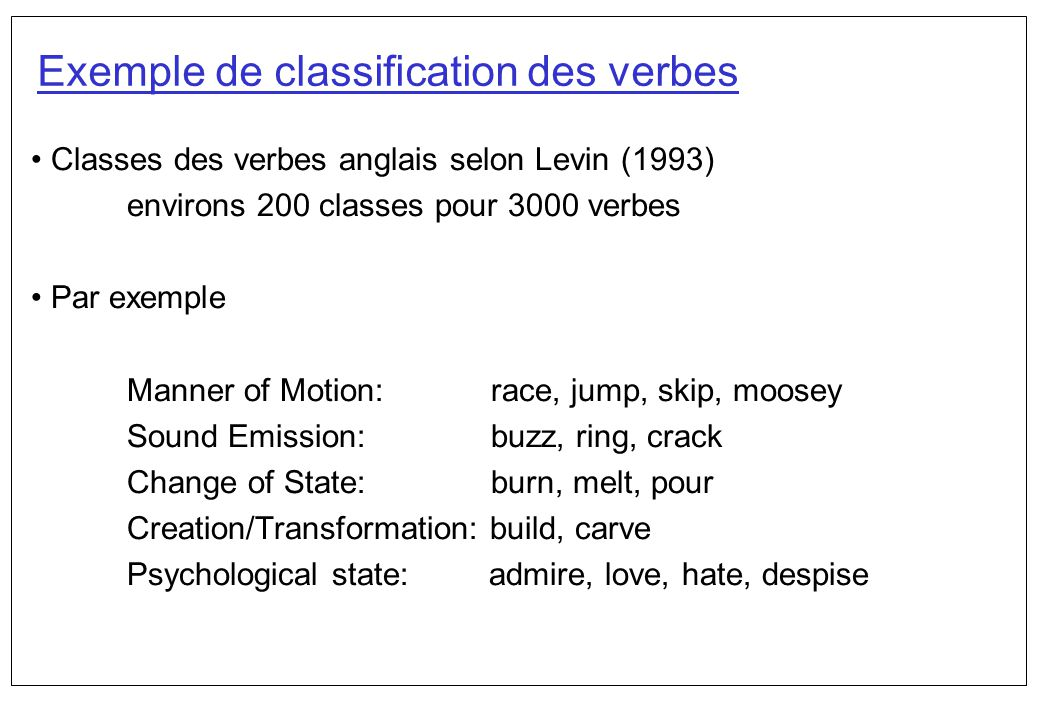 Exemple de classification des verbes