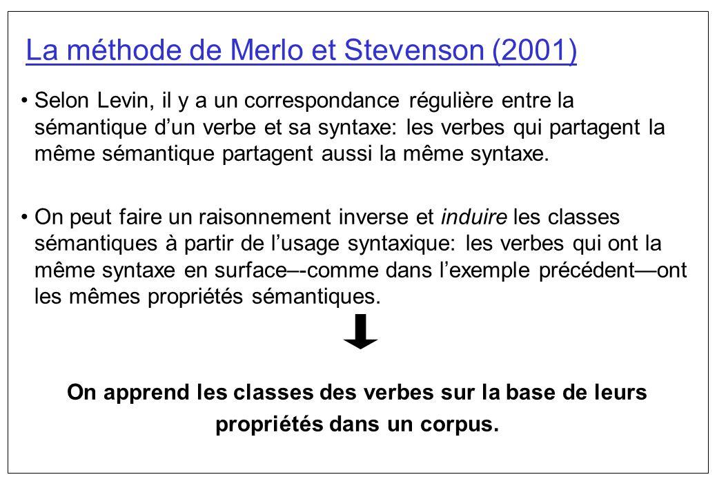La méthode de Merlo et Stevenson (2001)