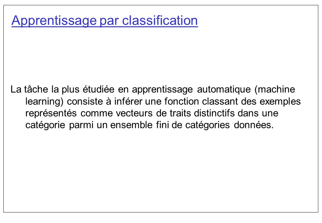Apprentissage par classification
