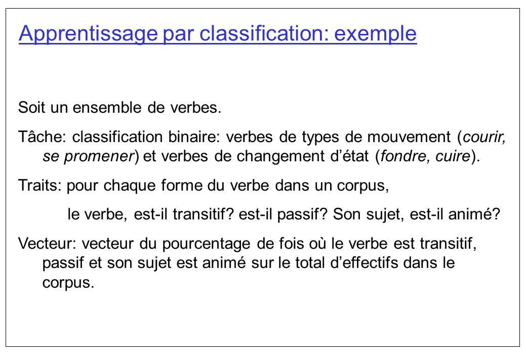 Apprentissage par classification: exemple