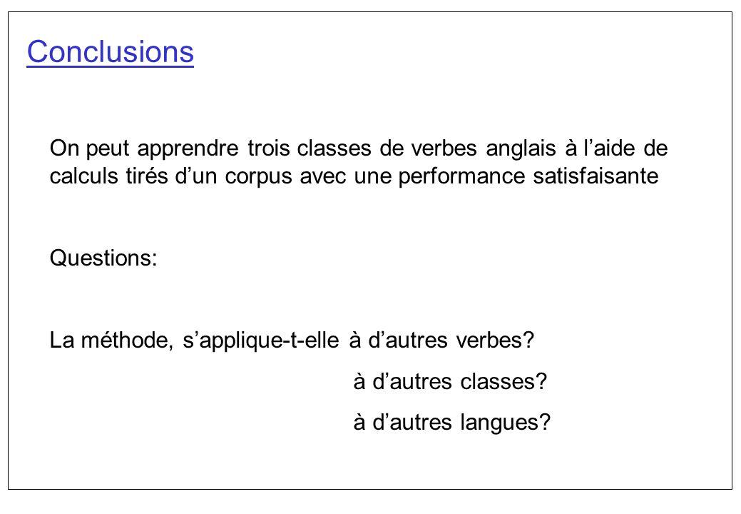 Conclusions On peut apprendre trois classes de verbes anglais à l'aide de calculs tirés d'un corpus avec une performance satisfaisante.