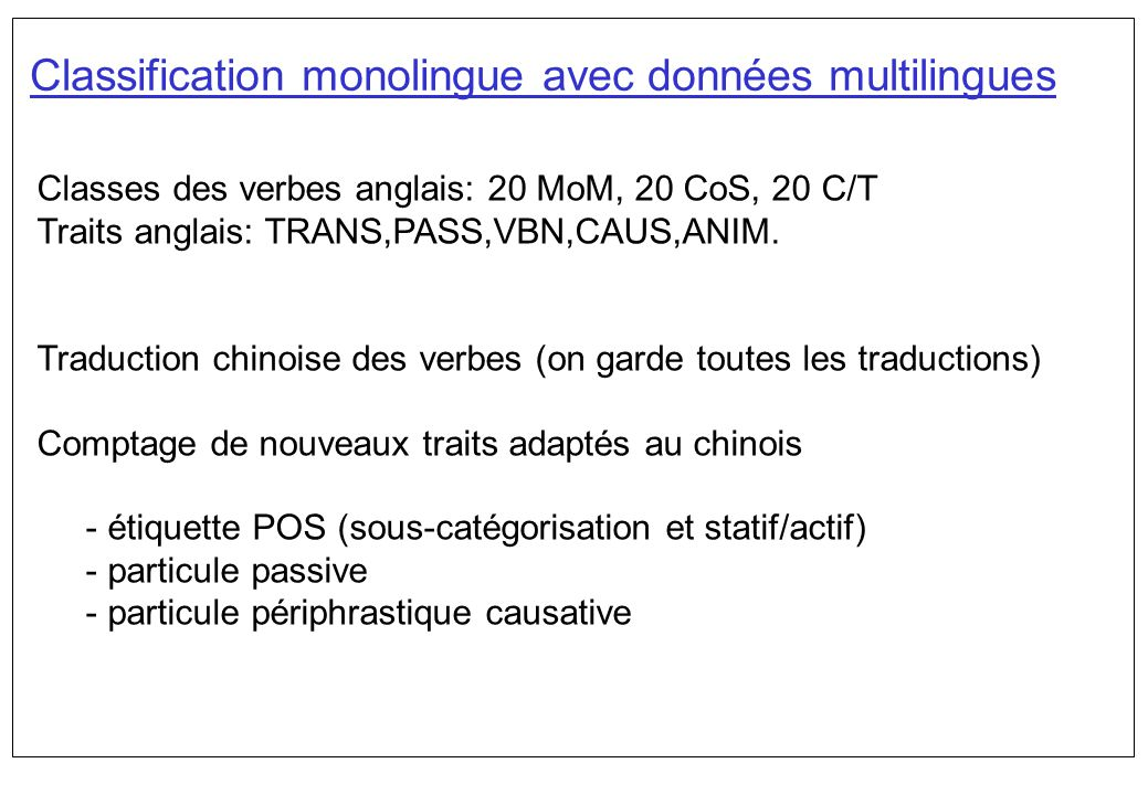 Classification monolingue avec données multilingues