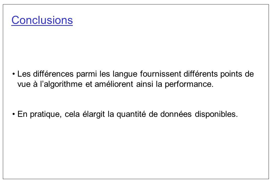 Conclusions Les différences parmi les langue fournissent différents points de vue à l'algorithme et améliorent ainsi la performance.