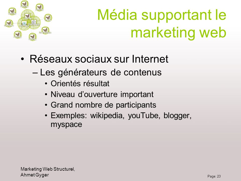 Média supportant le marketing web