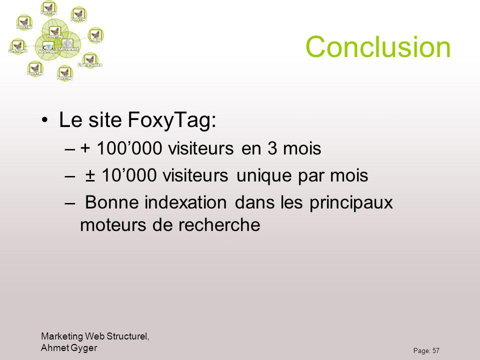 Conclusion Le site FoxyTag: + 100'000 visiteurs en 3 mois