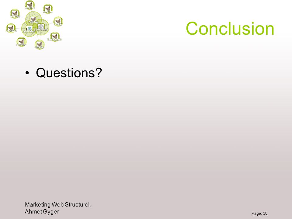 Conclusion Questions Marketing Web Structurel, Ahmet Gyger