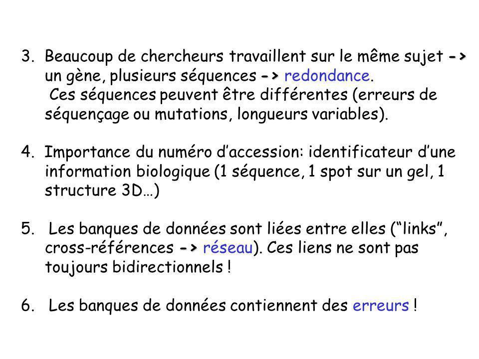 3. Beaucoup de chercheurs travaillent sur le même sujet -> un gène, plusieurs séquences -> redondance.