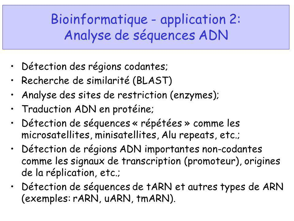 Bioinformatique - application 2: Analyse de séquences ADN